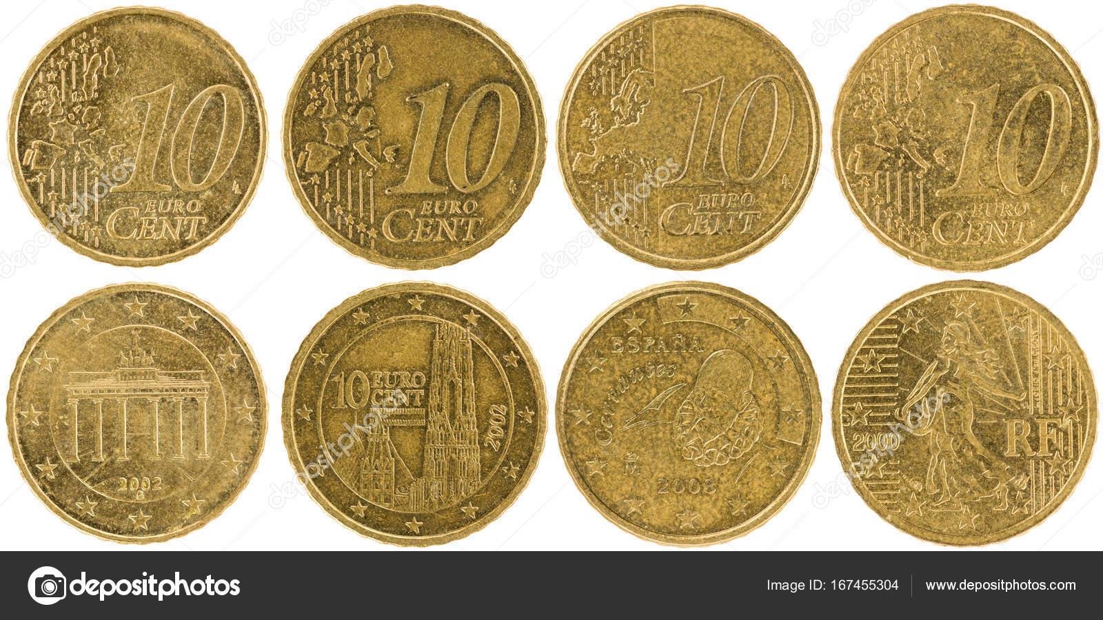 Einige Verwendet Europäische 10 Cent Münzen Stockfoto