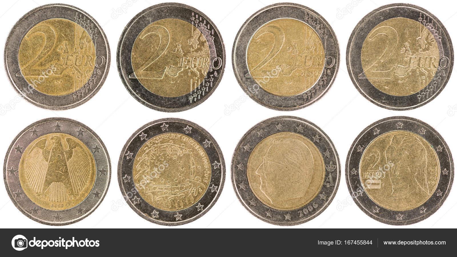 Einige Verwendet Europäische 2 Euro Münzen Stockfoto