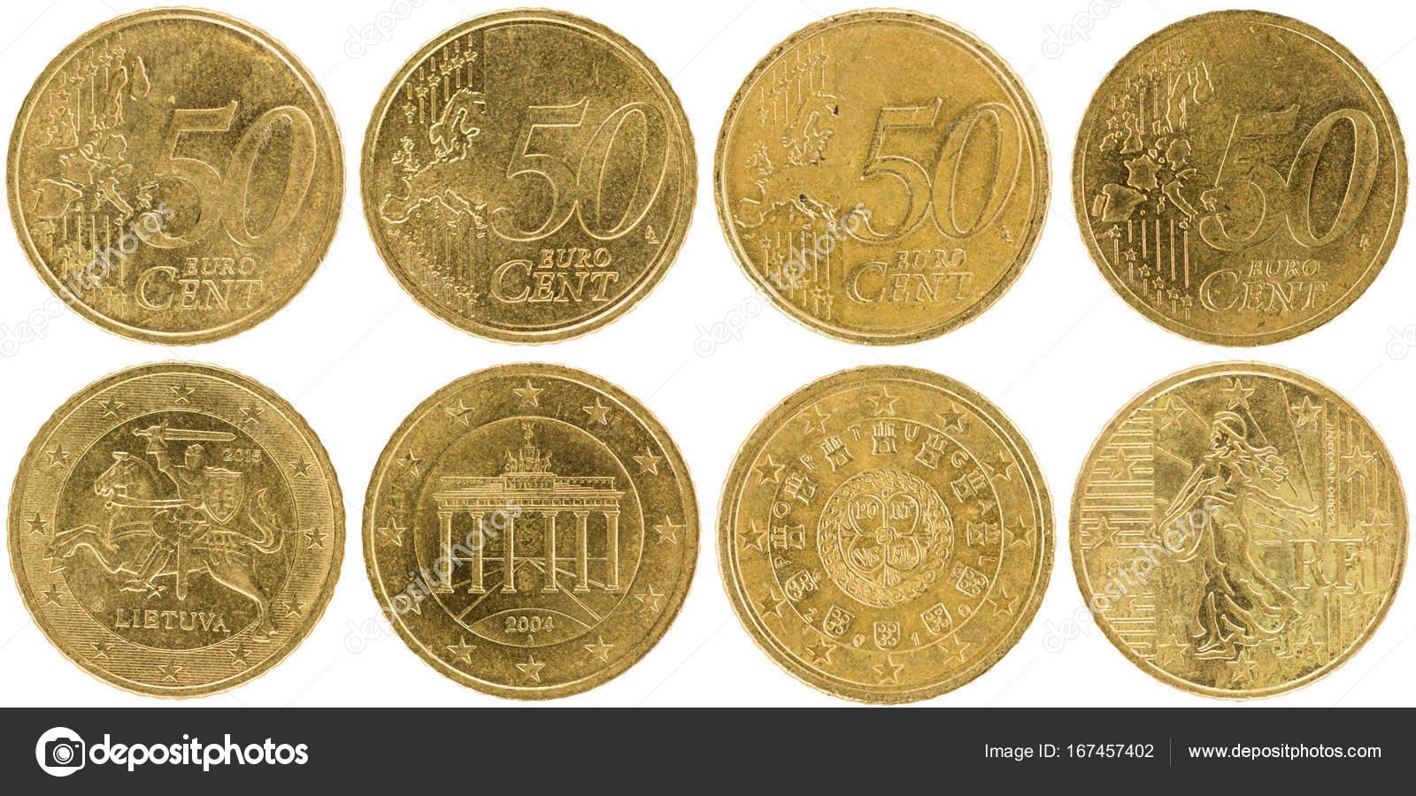 Verwendeten Europäischen 50 Cent Münzen Stockfoto
