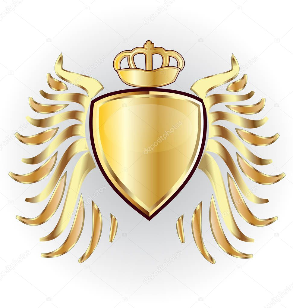 Car logo with eagle and crown | Gold shield crown and wings