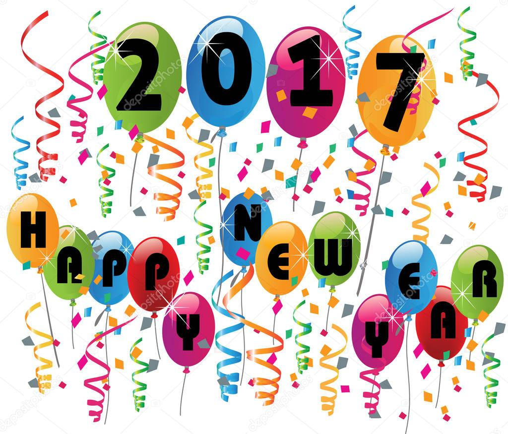 happy new year 2017 balloons celebration background vector vector by glopphy