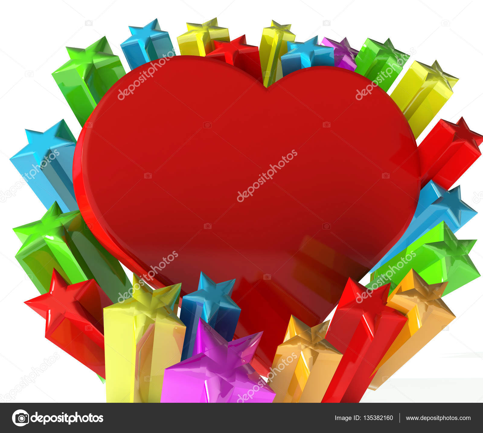 Heart Of Love 3d Image With Stars Fireworks Greetings Card Image