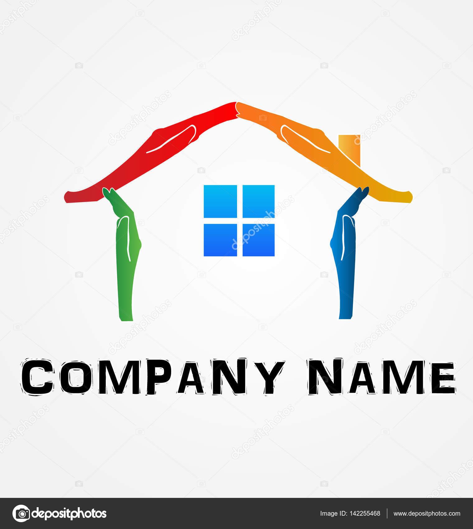 Hände machen ein Haus-Logo-Vektor-Bild — Stockvektor © Glopphy ...