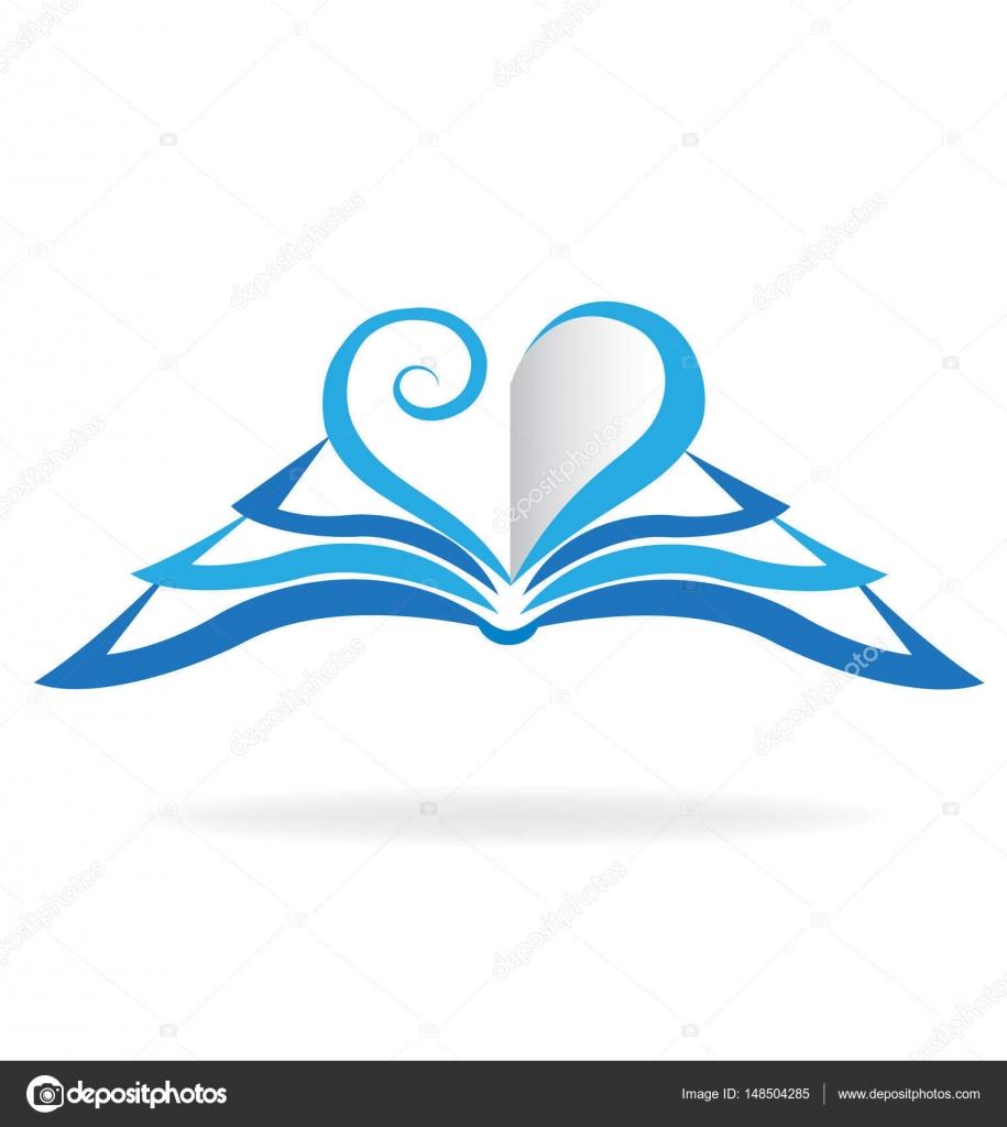 Logo De Coeur Amour Livre Bleu Image Vectorielle Glopphy