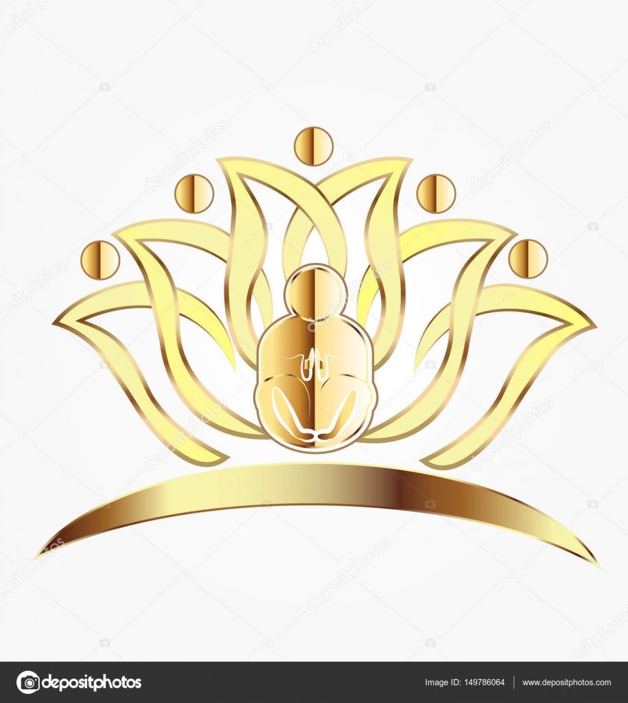 Travail Dquipe Or Yoga Lotus Icne Carte De Visite Vecteur Par Glopphy