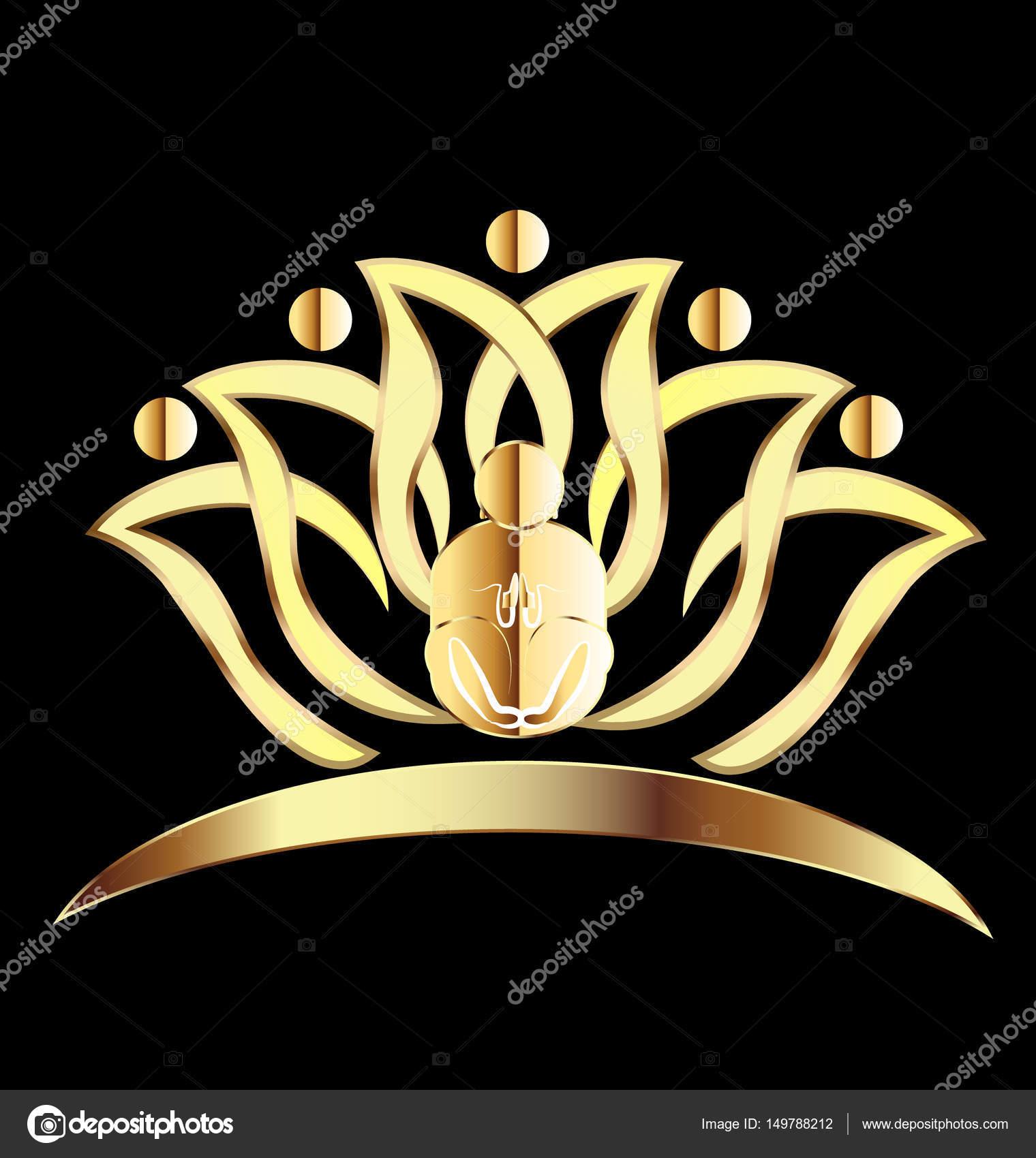 Travail Dequipe Or Yoga Lotus Icone Carte De Visite Vecteur Par