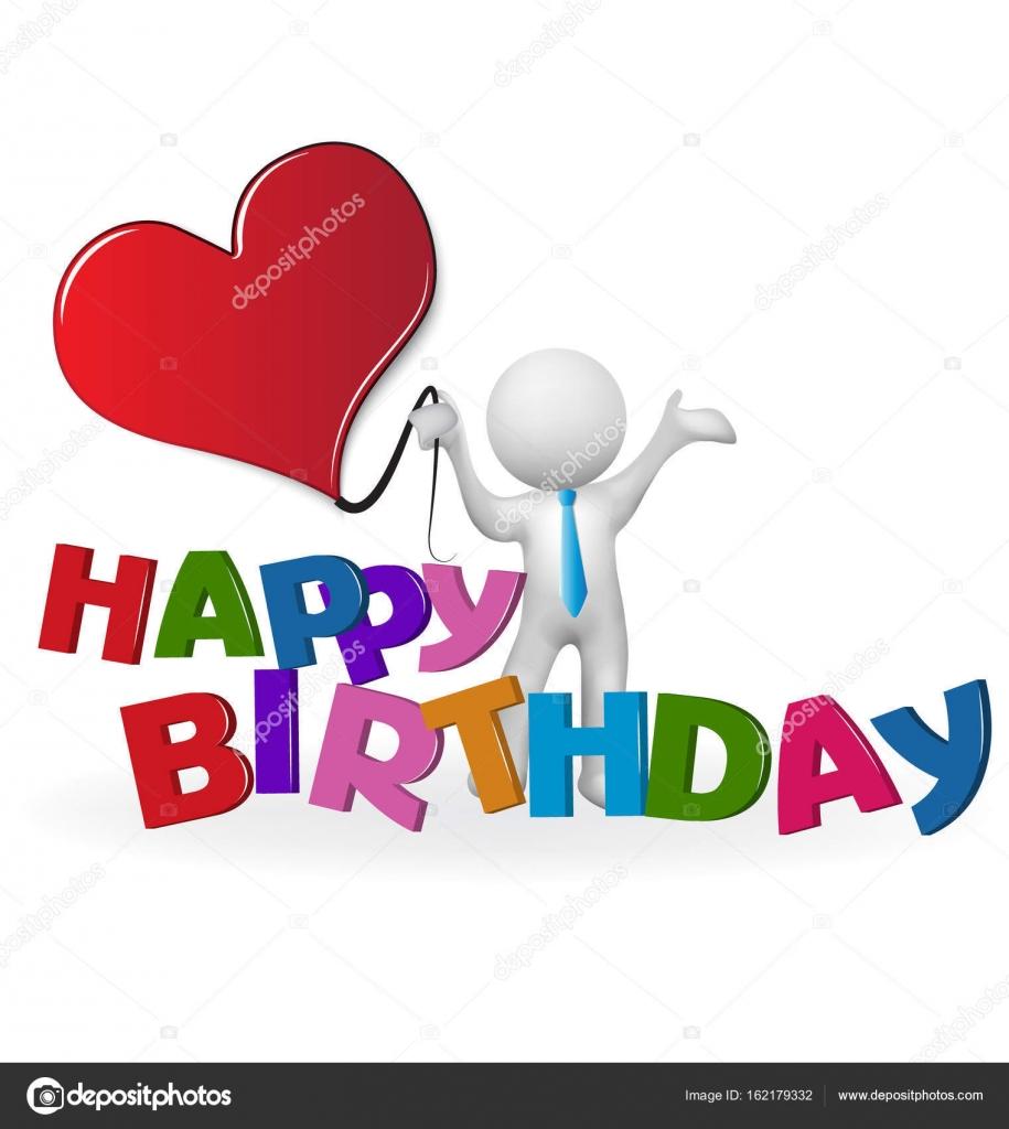 Gelukkige Verjaardag Woord 3d Man Met Een Hart Liefde Stockvector