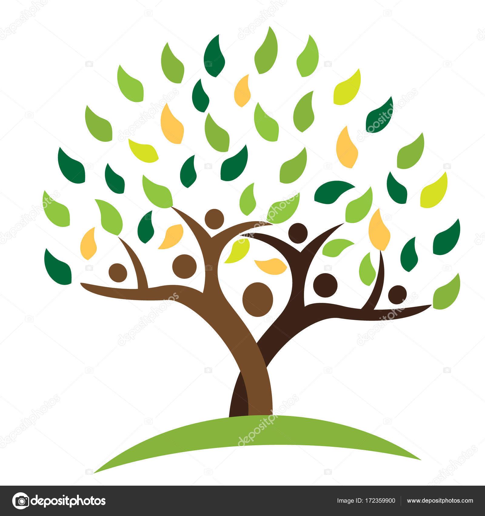 Arbol Familiar Con Manos Gente De La Familia Del árbol Verde Hojas
