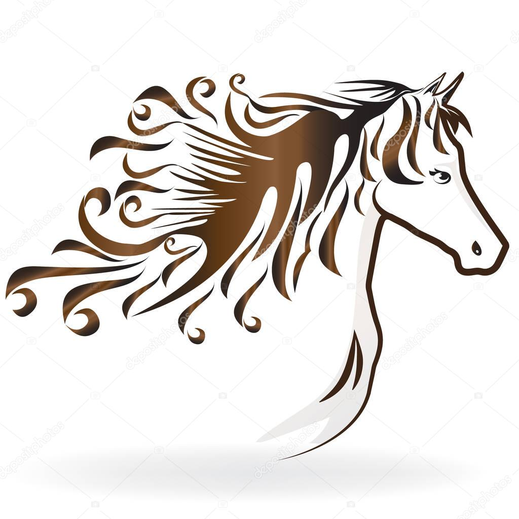 Horse Silhouette With A Swirly Hair Icon Logo Vector Design Premium Vector In Adobe Illustrator Ai Ai Format Encapsulated Postscript Eps Eps Format
