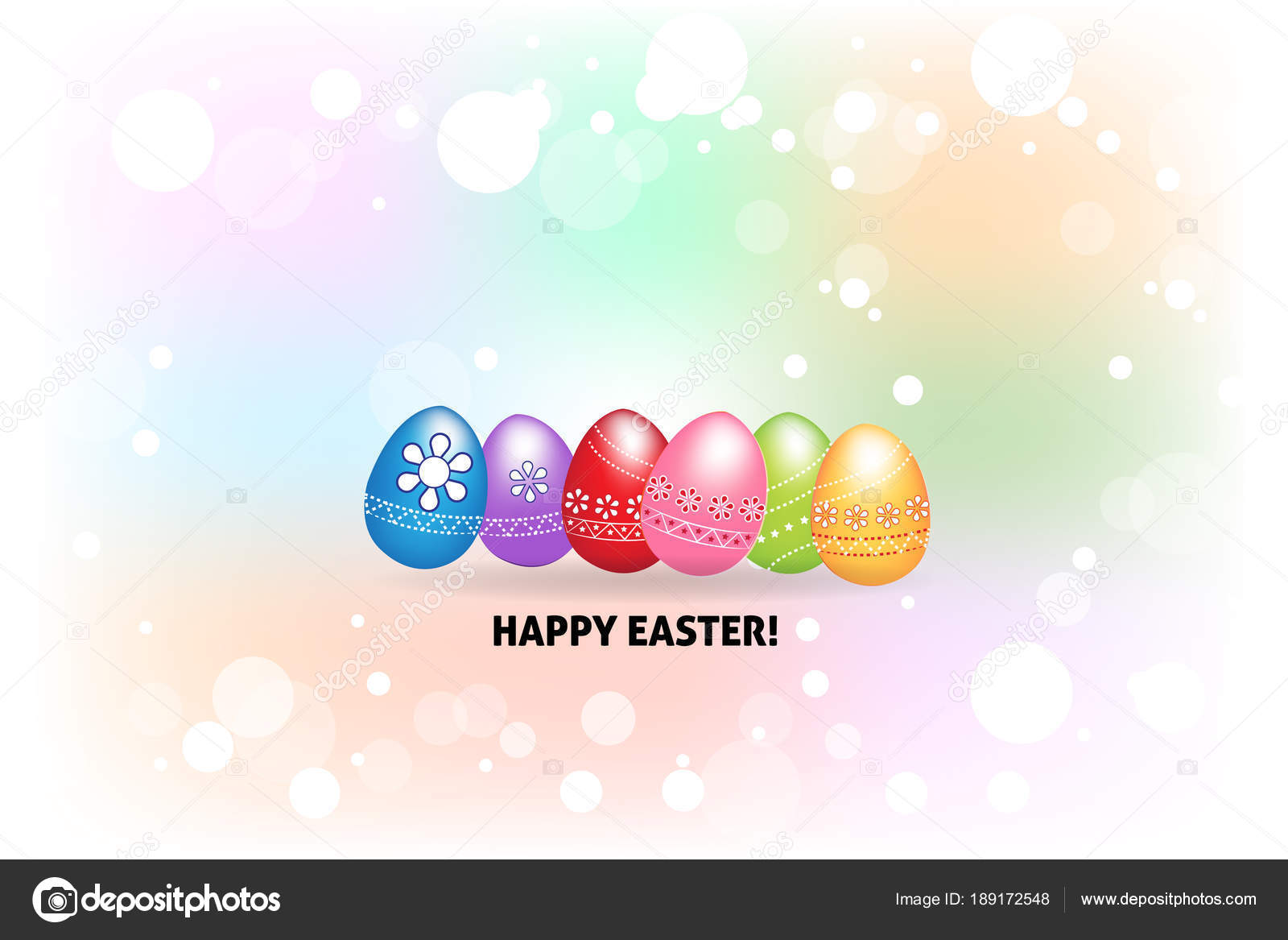 Happy Easter Greetings Card Eggs Colorful Icon Logo Watercolor