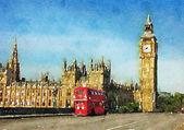 Londýn, Velká Británie. Červený autobus v pohybu a Big Ben, Palace Westminster
