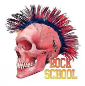 rock and roll themed graphic with skull