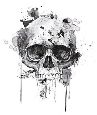 Scary human skull print