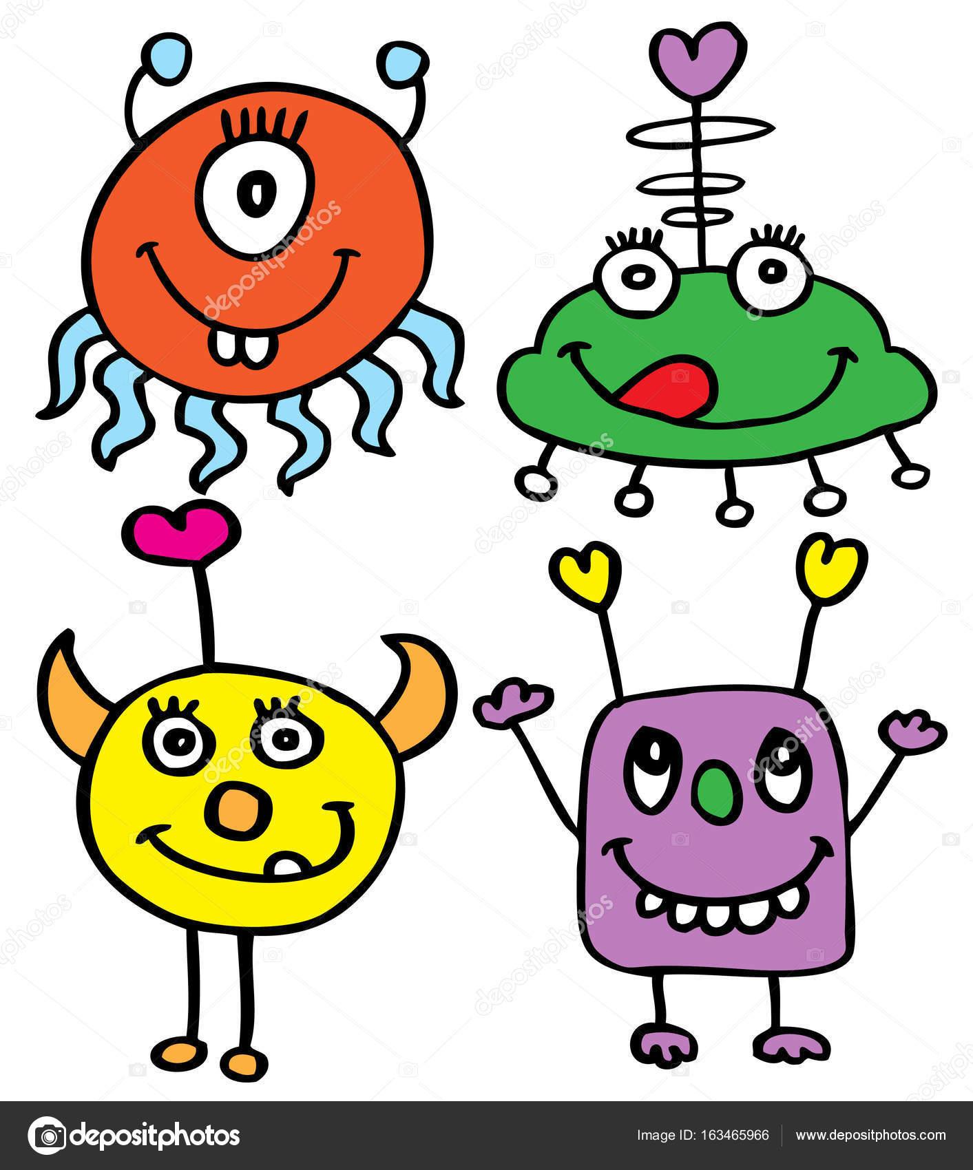 monstruos dibujos animados coloridos archivo imágenes vectoriales