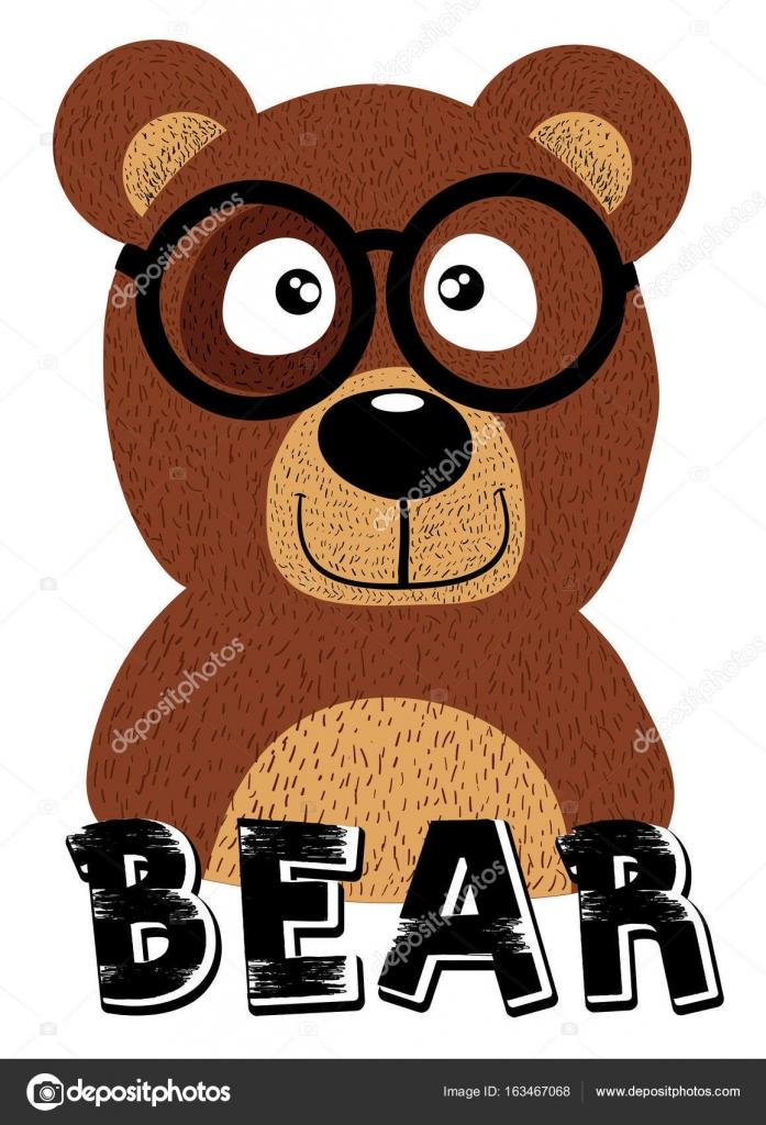 urso marrom dos desenhos animados de óculos vetor de stock