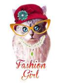 Vicces macska kalap és szemüveg