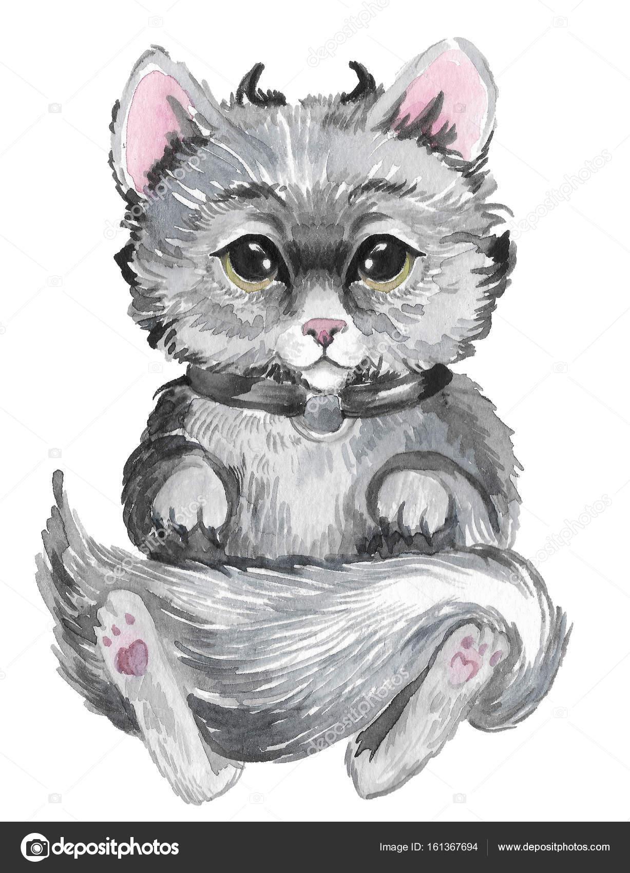 Süße Katze in Aquarell gemalt — Stockfoto © YuliaRey #161367694