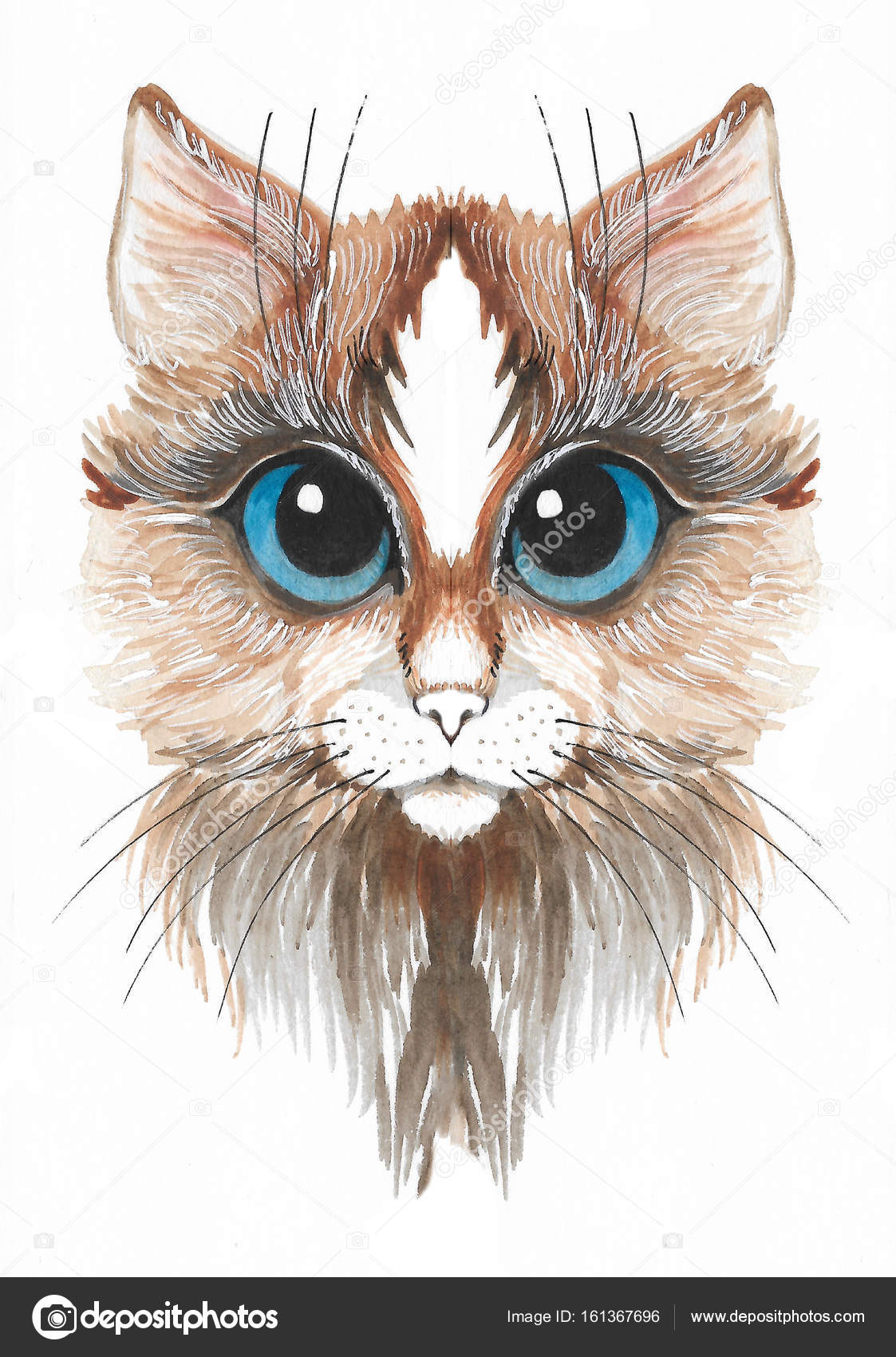 Süße Katze in Aquarell gemalt — Stockfoto © YuliaRey #161367696