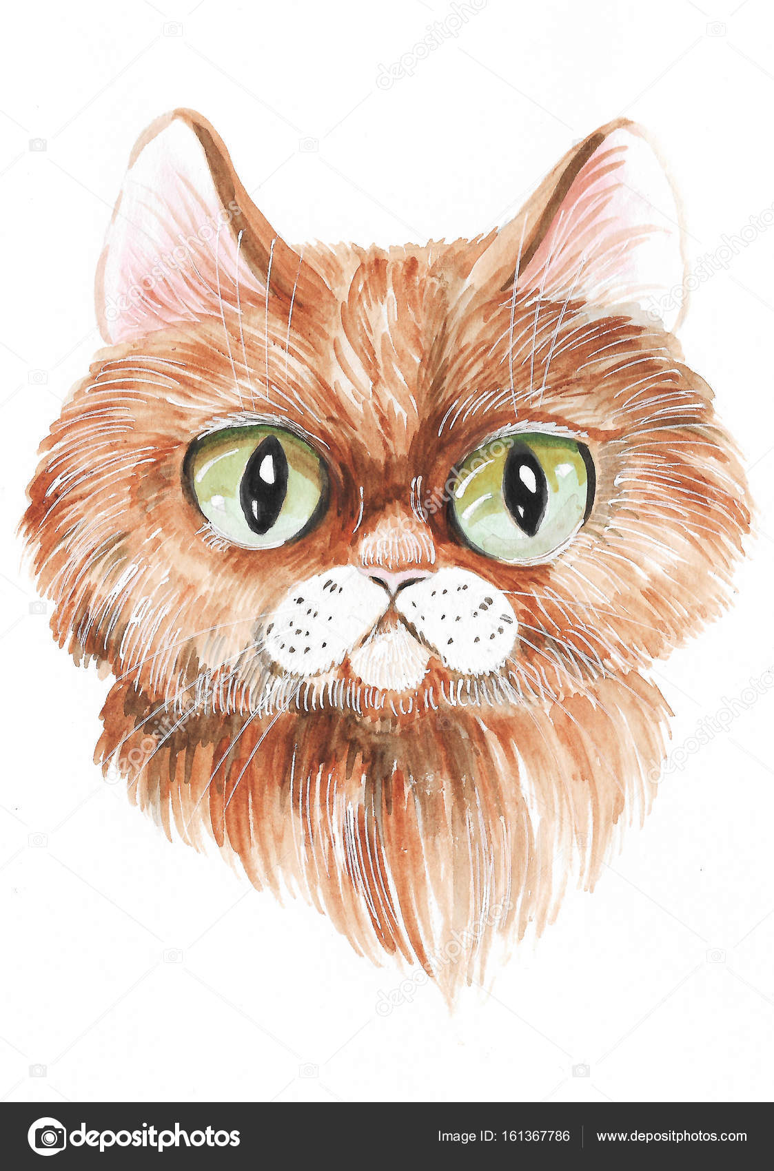 Süße Katze in Aquarell gemalt — Stockfoto © YuliaRey #161367786