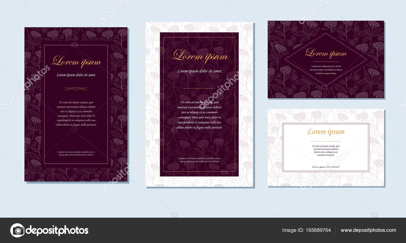 Vector conjunto de cuatro plantillas con ornamento floral — Vector ...