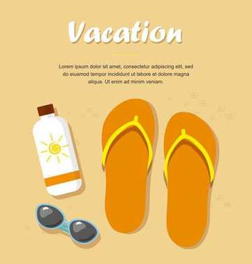 Vacation. Flip- flops in the sand with sunglasses and cream from tan