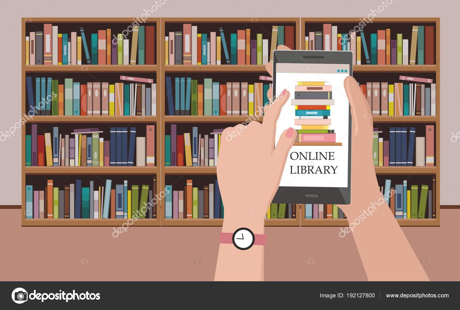 Boekenplank Met Boeken.Boekenplank Met Boeken Het Scherm Van Telefoon Bij Boekenplank