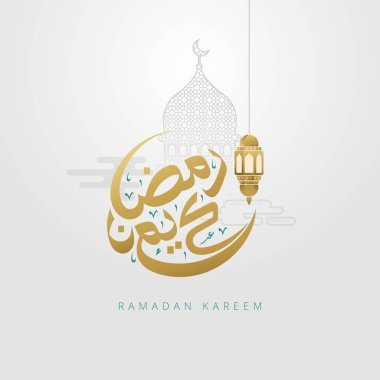 Ramadan kareem greeting card with arabic calligraphy and gold crescent moon