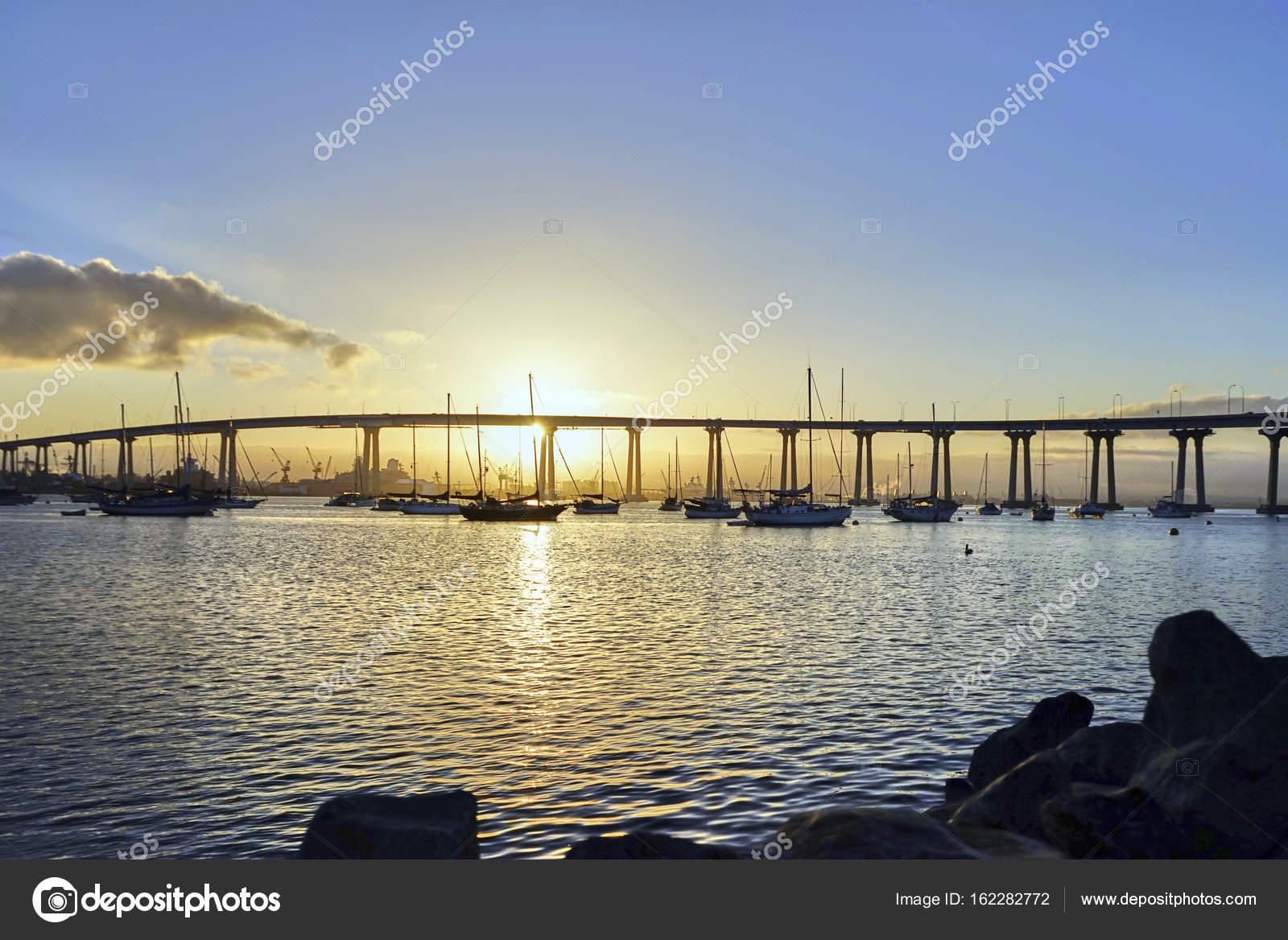 Anchored Boats Greet The Early Morning Sun In Sunny San Diego