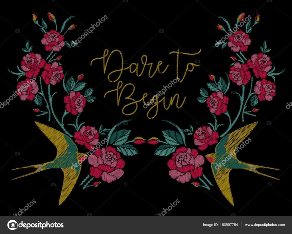 Traditional Flower Line Drawing : Embroidery design flowers u2014 stock vector © danauk #160997754