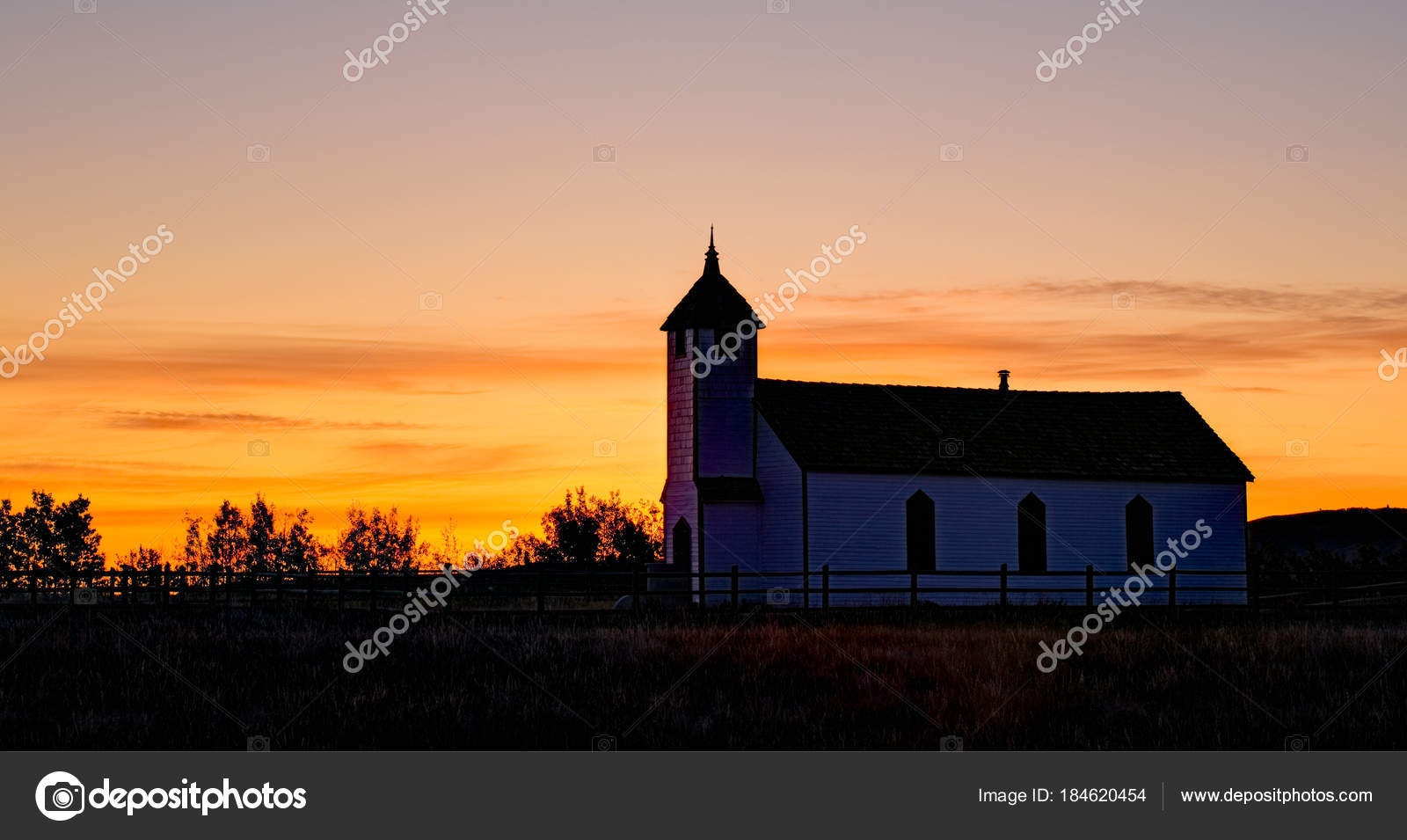 An Old Country Church At Sunrise Stock Photo