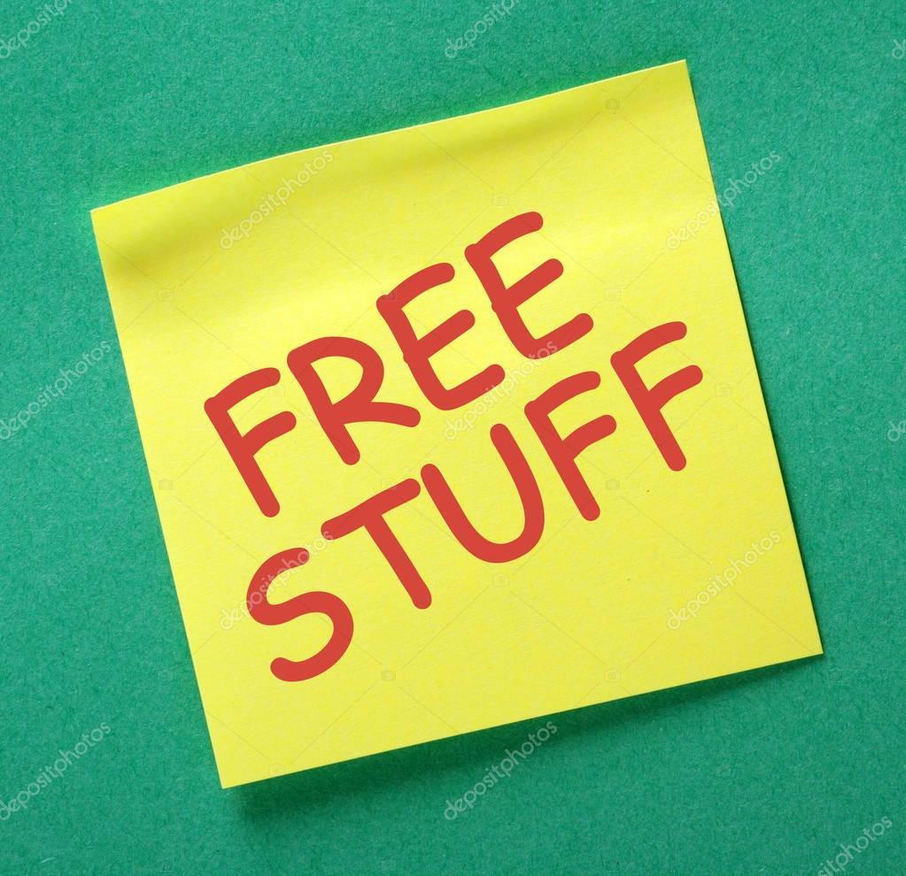 Free Stuff Yellow Sticky Note