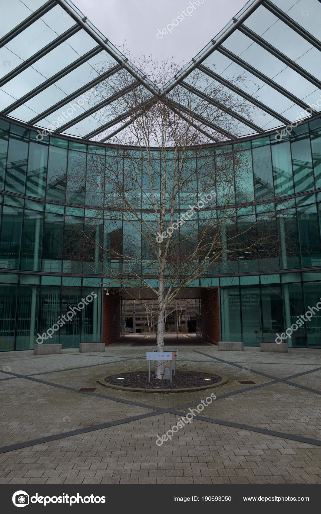glass exterior modern office. Bracknell England April 2018 Glass Exterior Modern Office Building Tree \u2014 Stock Photo W