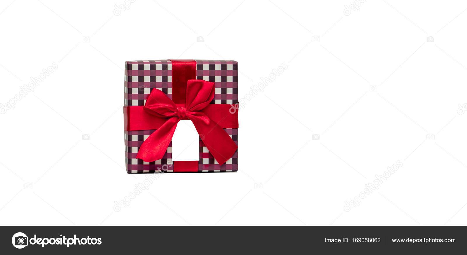 Caja de regalo del patrón de cuadros con lazo de cinta roja y ...
