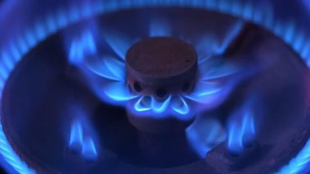Zavřete makro záběr modré plameny z hořák plynový sporák. Zkapalněný ropný plyn (Lpg).