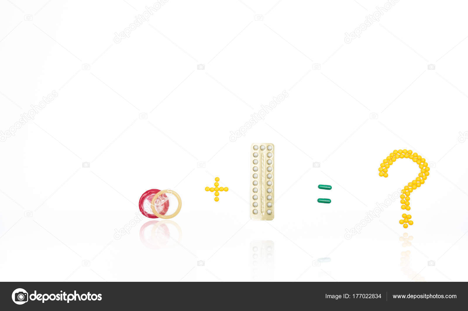 Condoms And Contraceptive Pills With Question Mark Equal Plus Sign
