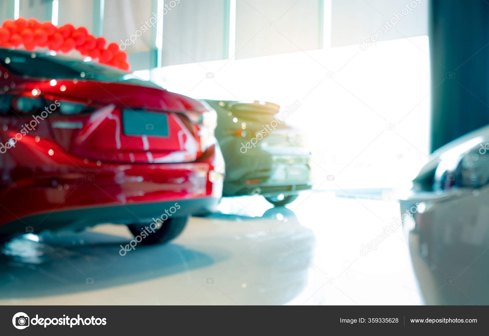 Blurred Rear View Red Car Luxury Car Parked Modern Showroom Stock Photo C Fahroni 359335628