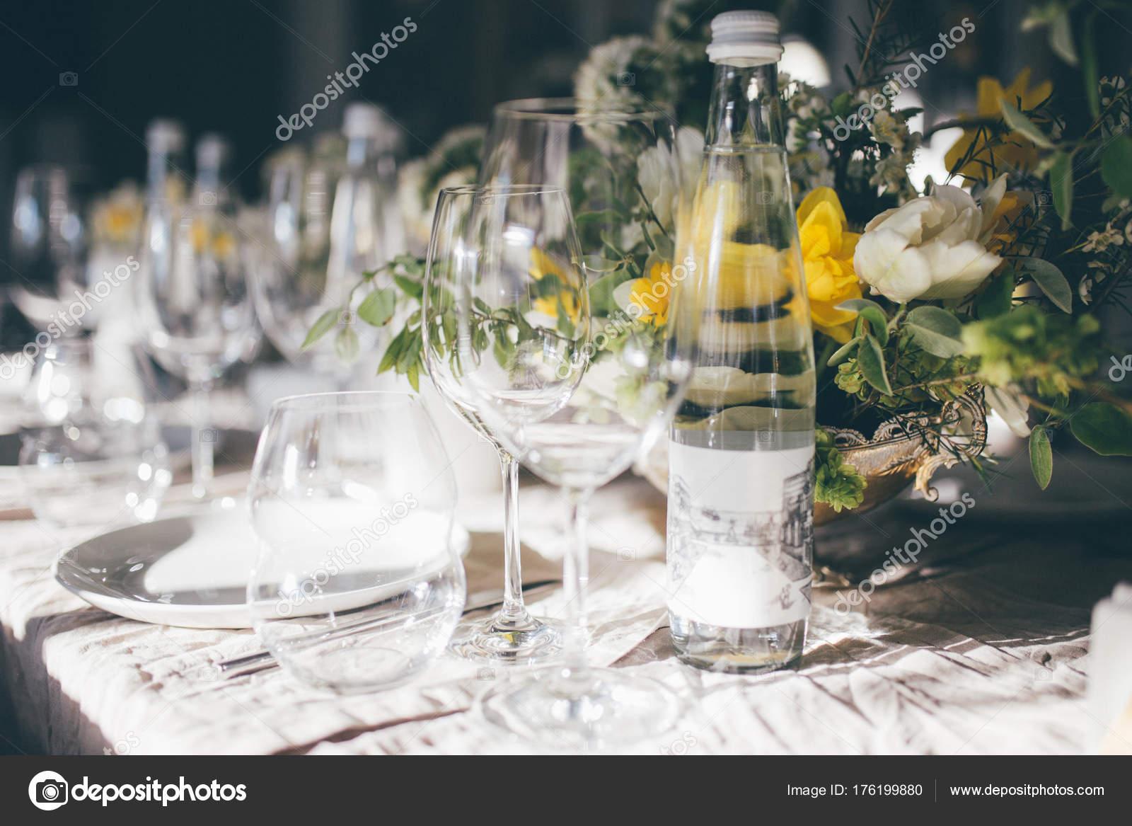 Beautiful Festive Table Setting Closeup Wedding Festive Interior Table Decorations u2014 Stock Photo & Beautiful Festive Table Setting Closeup Wedding Festive Interior ...