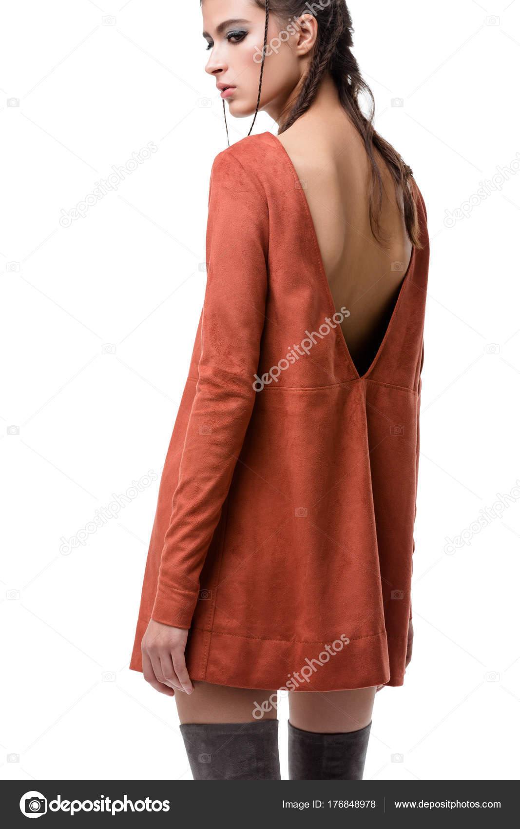 Muito Jovem Volta Vestido Camurça Gengibre Com Corte Nas