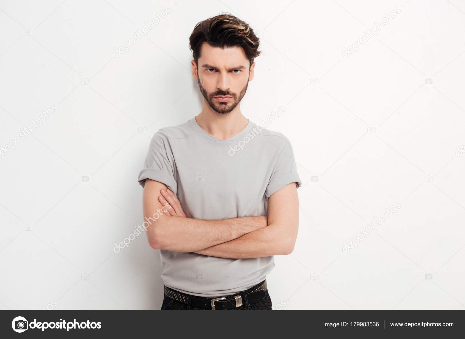 Portrait Young Man Brown Hair Beard Standing Angrily Looking Camera Stock Photo Image By C Garetsworkshop 179983536