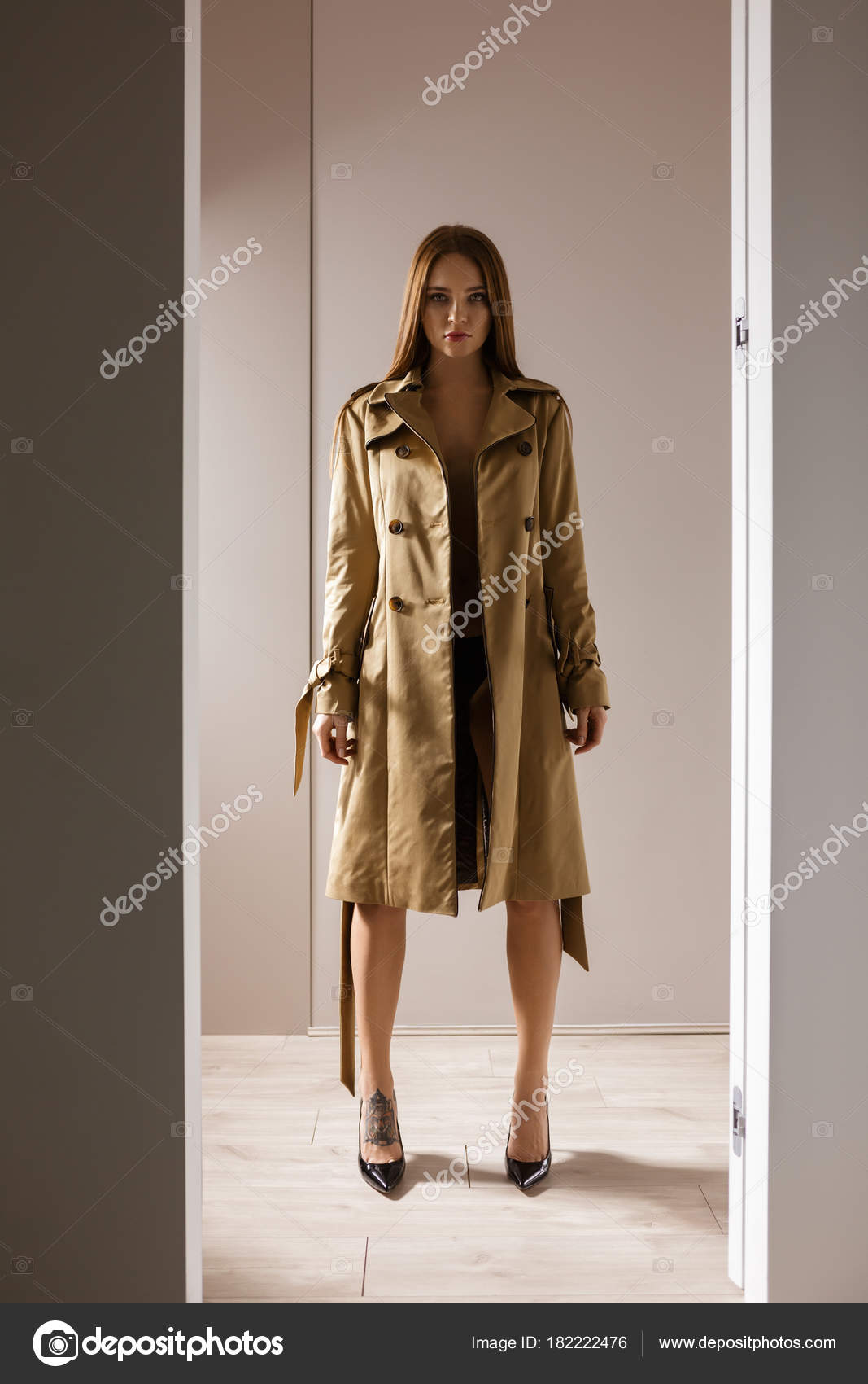 new pretty cheap 100% quality quarantee Portrait Beautiful Lady Trench Coat Lingerie Black Shoes ...