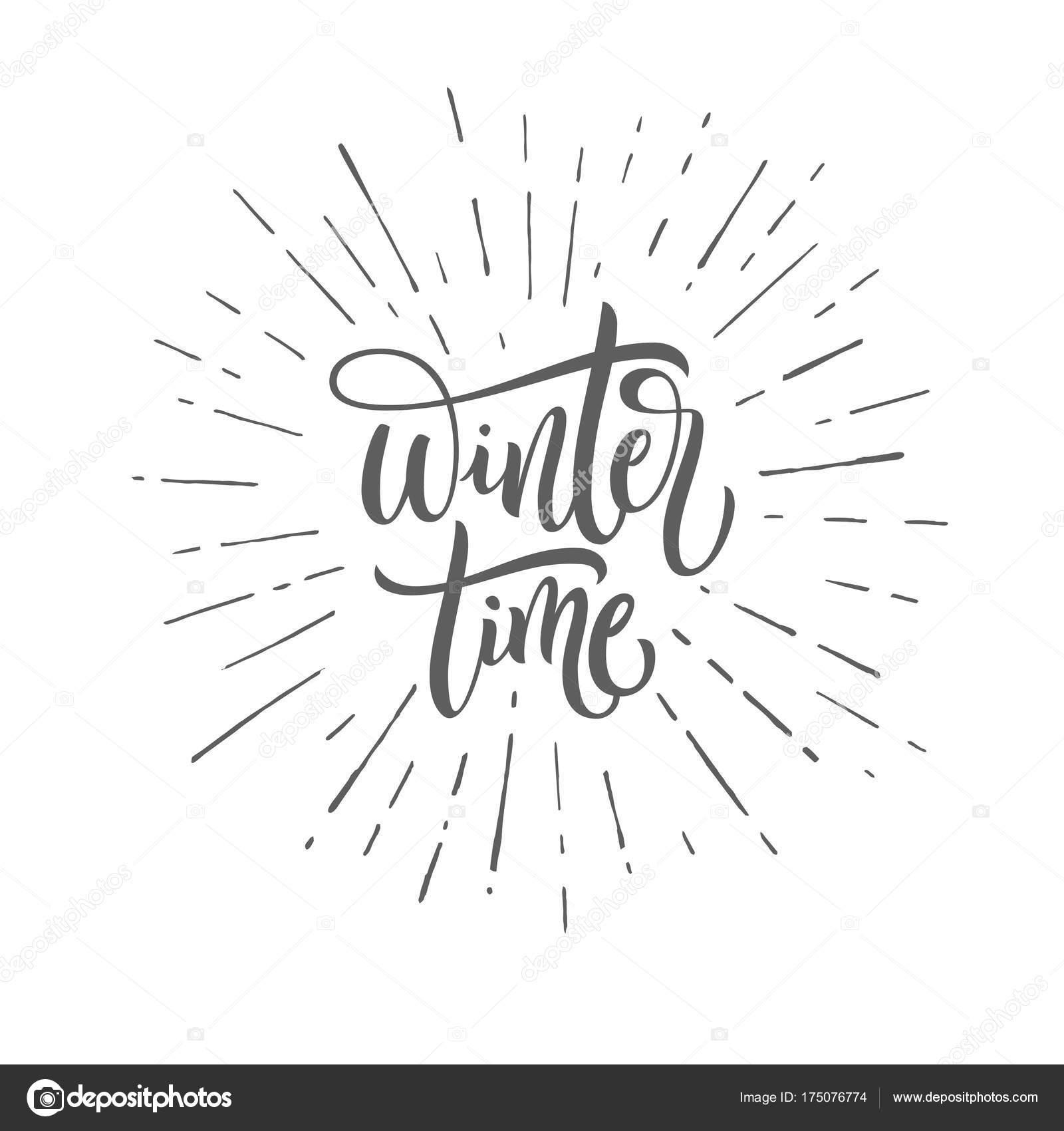 Winter Zeit Schwarz Weiß Handgeschriebenen Schriftzug Inschrift