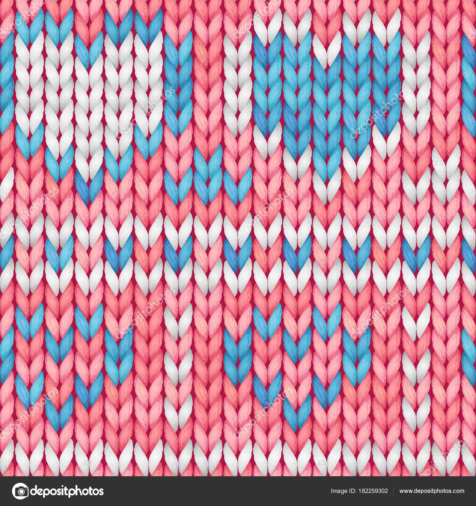 Rose Et Bleu Transparente Motif Tricote Avec Un Cœur Tissu En Laine