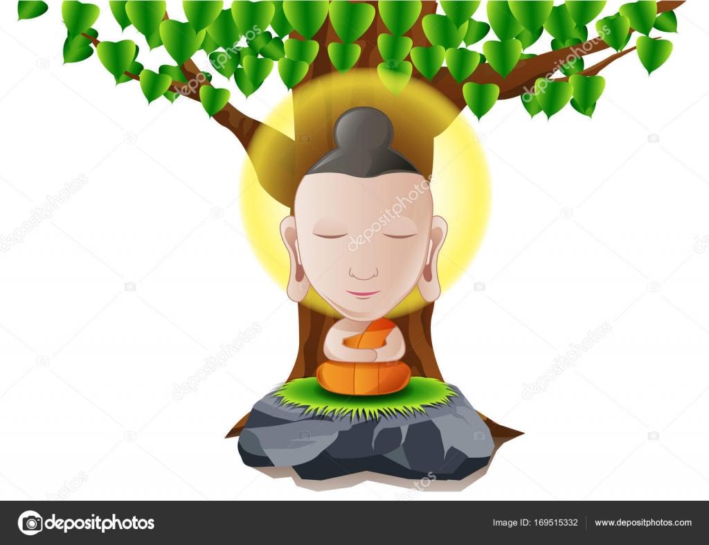 heer van Boeddha worden verlicht onder boom in cartoonversie ...