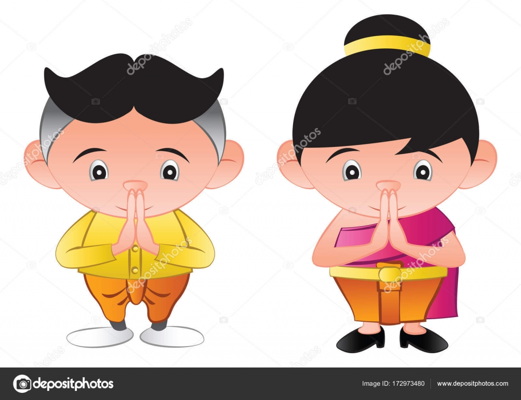 The wai thailand stock vectors royalty free the wai thailand thai bubble head boy and girl is greeting in called sawasdeein royalty free stock kristyandbryce Choice Image