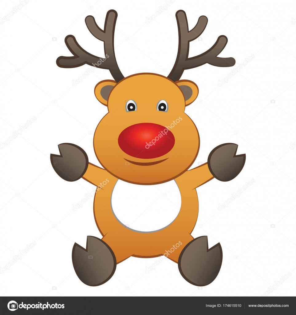 Smiling cartoon brown reindeer sit and raise hand to show season smiling cartoon brown reindeer sit and raise hand to show season of greeting and happy christmasvector illustration vector by terd486ail kristyandbryce Image collections