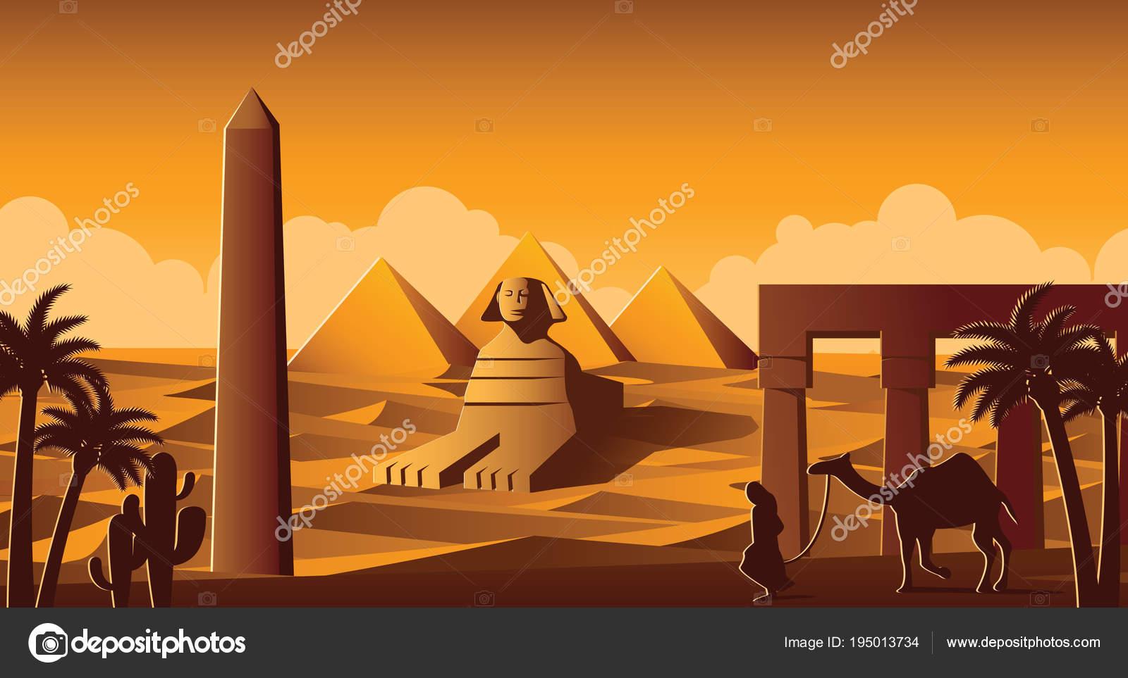 Sphinx e la piramide simbolo famoso di egitto versione a cartoni