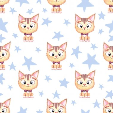 Seamless kids watercolor pattern for boys with cat and bow and blue stars.