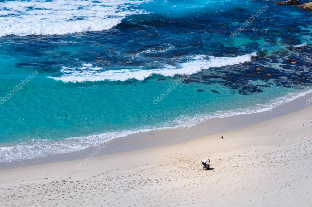 sandy beach and sea waves