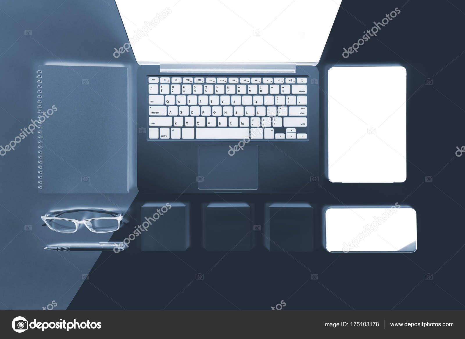 office desk laptop computer notebook mobile. Flat Lay X-ray Photo Of Office Table With Laptop Computer, Notebook, Digital Tablet, Mobile Phone, Pencil, Eyeglasses On Modern Two Tone (white And Grey) Desk Computer Notebook H