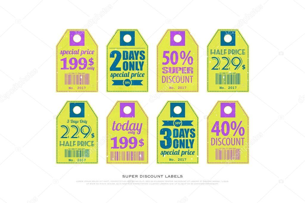 conjunto de etiquetas de precio de papel vintage. vectores ...